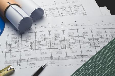 ingénierie diagramme plan papier rédaction projet d'esquisse architecturale, mise au point sélective.