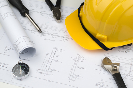 alicate: engineer construction business work concept : engineering blueprint diagrams paper drafting and industrial equipment technical tools ,selective focus