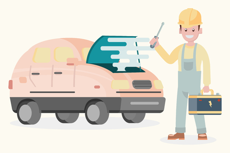 illustration flat design character , machanic with battery automobile service maintenance