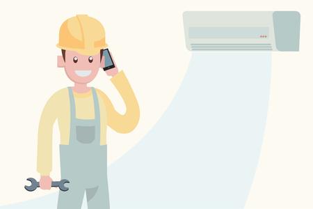 concepto de servicio de mantenimiento de aire acondicionado, carácter del vector de ilustración de trabajo de reparador