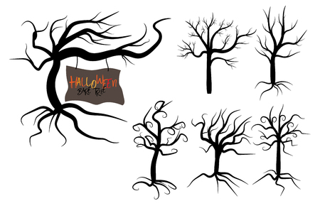 Set of halloween tree . Dead Branch from vector.Halloween tree by hand drawing.Black plant on white background. Vectores