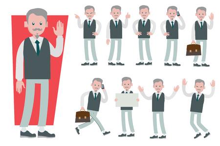 Ensemble de conception de vecteur de caractère d'homme d'affaires faisant différents gestes. Présentation dans diverses actions avec émotions, course, station debout, marche et travail.