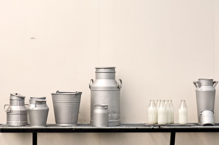 steel bucket: Old milk jugs, cans, bottles and bucket