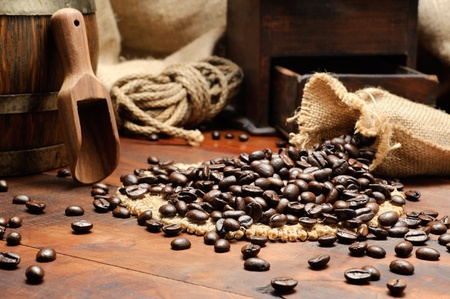 gunny bag: Coffee beans in vintage setting Stock Photo