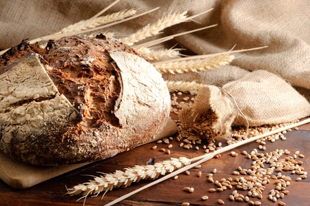 bakery oven: Close-up on traditional bread. Stock Photo