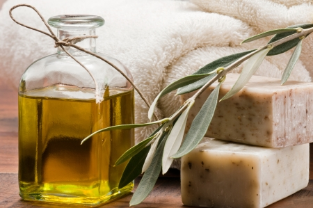 natural soap: Olive oil soap and bath towel Stock Photo