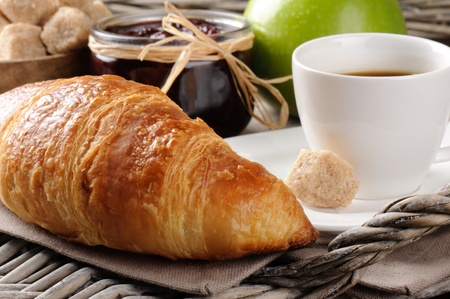 french culture: Breakfast with coffee, french croissant and jam