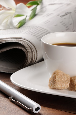 Morning coffee time with newspaper Stock Photo - 10046879