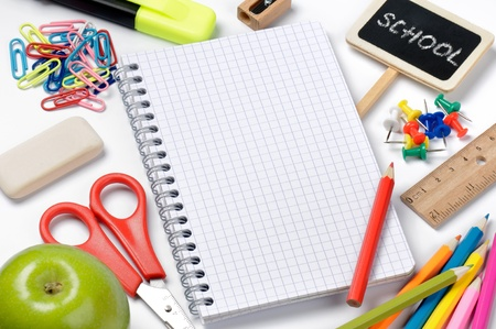 School stationery isolated with notebook copyspace Stock Photo - 10107951