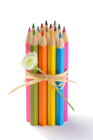 descriptive colour: Colorful pencils isolated on white background
