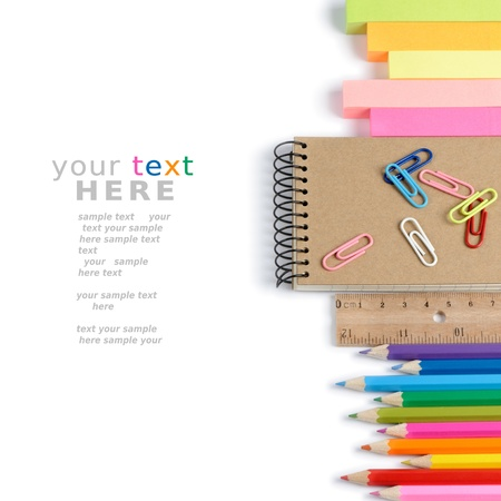 secondary school: School stationery isolated over white with copyspace