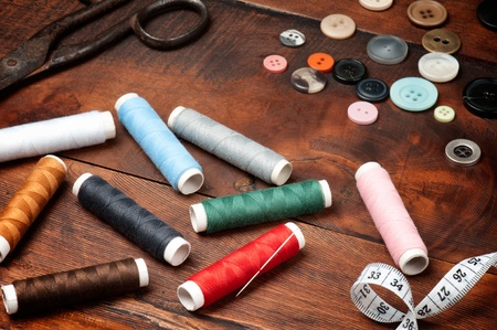 Vintage set of threads, scissors and buttons Stock Photo - 10360162