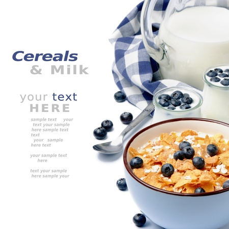 berry fruit: Healthy breakfast with cereal and blueberry