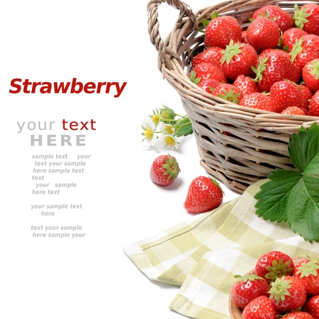 old container: Strawberries in basket over white