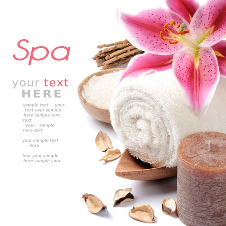 spa candles: Spa setting in brown tone over white background