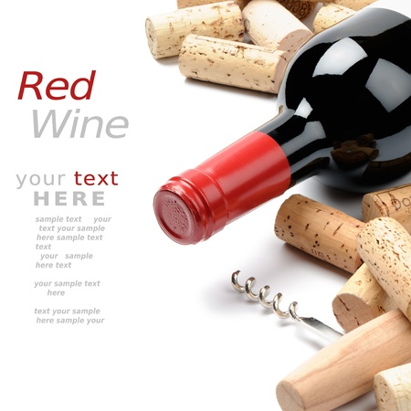 des vins: Wine and corks. Menu option Stock Photo