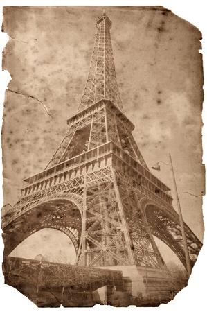 Vintage style Eiffel tower card, Paris photo