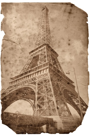 parisian: Vintage style Eiffel tower card, Paris