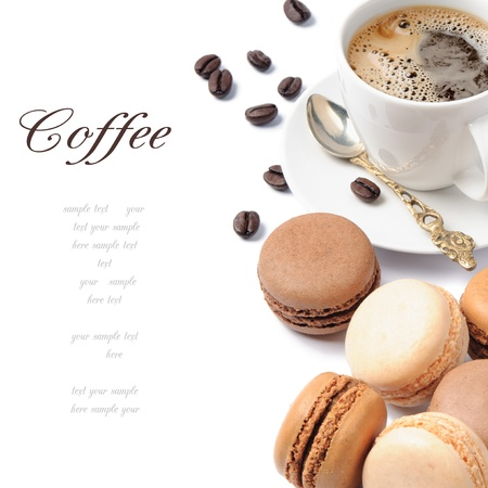 Coffee and French macaroons in brown tone