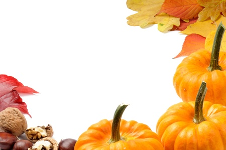 halloween decoration: Autumn frame with pumpkins, leaves and walnuts Stock Photo