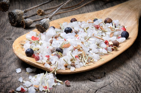 Sea salt mix with juniper berries, pink pepper, cinnamon and rosemary photo