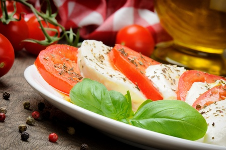 Caprese salad with tomato and mozzarella