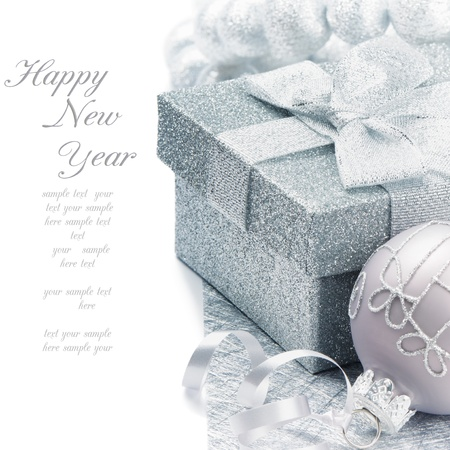 Christmas gift box with festive decoration in silver tone Stock Photo