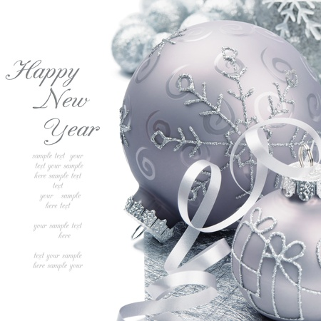 silver christmas: Christmas balls on the festive silver background Stock Photo