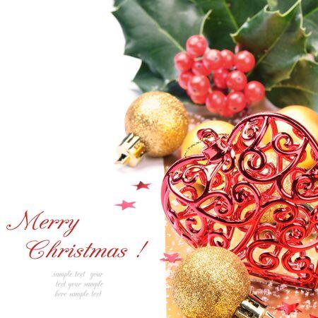 Heart shaped Christmas decoration over white photo