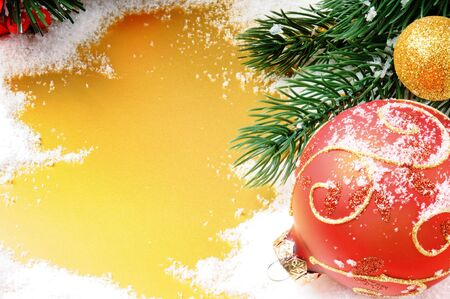 Christmas decoration in red and golden tone with copyspace photo