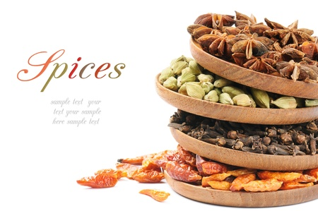 oriental cuisine: Colorful mix of spices over white