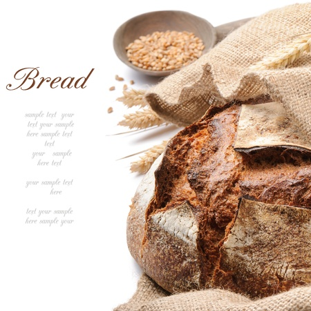 Freshly baked traditional bread over white photo
