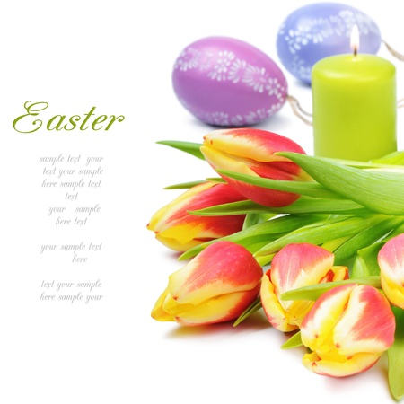 Beautiful spring tulips in easter set photo