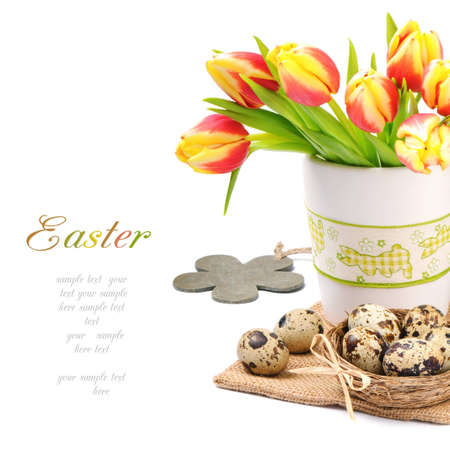 Easter set with spring tulips and eggs over white photo