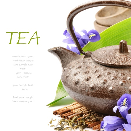 purple iris: Asian tea set with green leaf and flowers over white