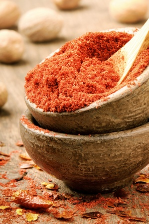 pepper flakes: Red hot chili powder and flakes on the wooden table