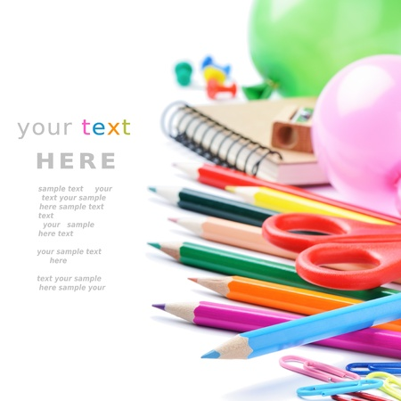 art supplies: School stationery isolated over white with copyspace