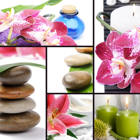 Spa concept. Collage with spa stones, flowers, candles and essential oil photo