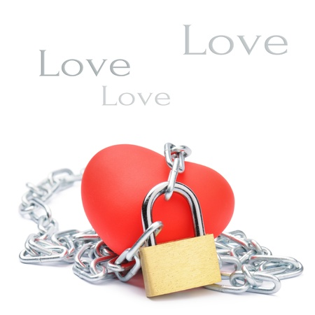 bind: Chained red heart. Love and passion concept