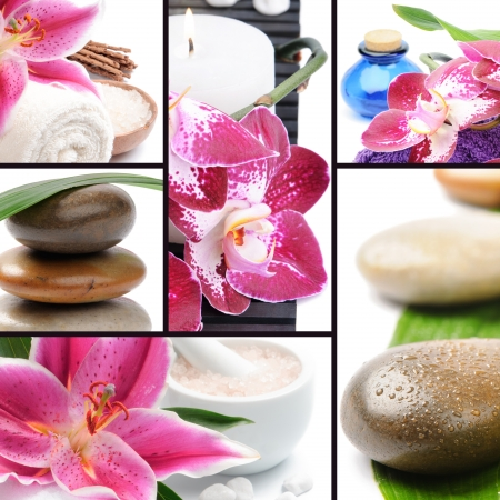 scented candle: Spa concept. Collage with spa stones and flowers