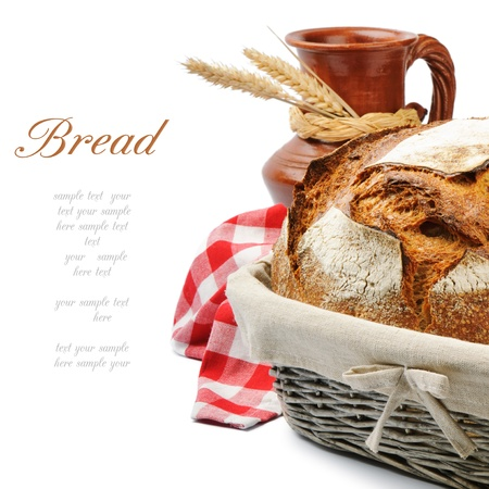 fresh bakery: Traditional countryside breakfast with homemade bread Stock Photo