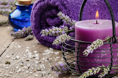 Spa setting in purple tone with lavender photo