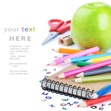 School stationery isolated over white with copyspace Stock Photo - 14931279
