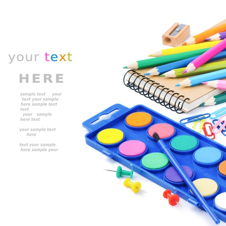 Colorful school supplies isolated on white background Stock Photo - 14931314
