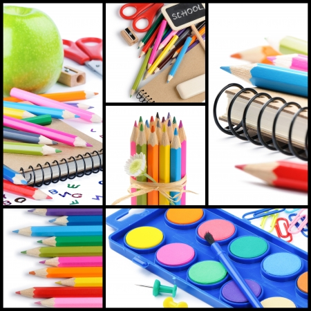 Colorful school supplies isolated over white. Collage photo