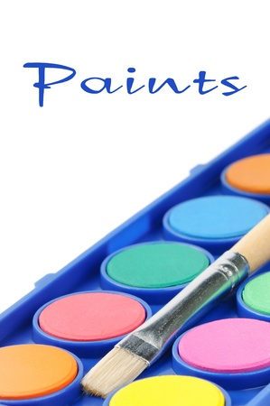 Colorful paints isolated on white background photo