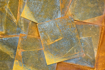 corrosion: Old rusty metal sheets background in orange tone