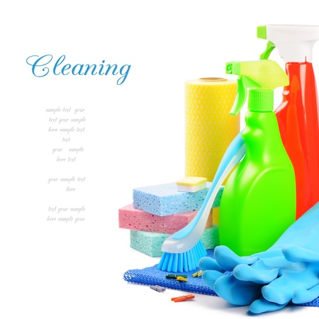 Colorful cleaning products isolated over white Stock Photo