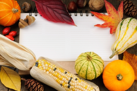 Autumn frame with copyspace and colorful seasonal vegetables photo