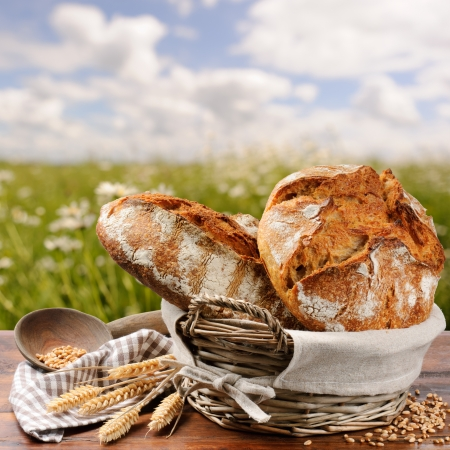 Freshly baked traditional bread in basket Stock Photo
